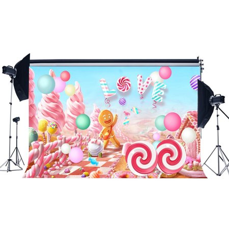GreenDecor Polyster 7x5ft Photography Backdrop Christmas Candy House Lollipops Gingerbread Ice Cream Love Birthday Backdrops for Baby Girl Princess Party Event Portraits Background Photo Studio Props - Princess Background