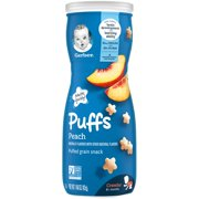 Gerber Puffs Stage 2 Baby Cereal Snacks Peach, 1.48 oz, Canister (Pack of 6)