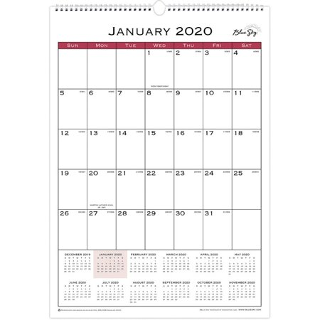 Blue Sky Classic Monthly Wall Calendar - Yes - Monthly - 1 Year - January till December - 1 Month Single Page Layout - Twin Wire - Hook & Loop - Wall Mountable - Black, Mahogany, Red - Notes Area,