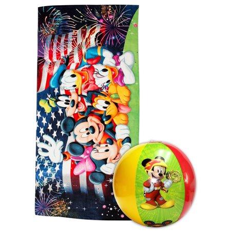 Mickey and Friends Fireworks July 4th Beach Towel 58x28 & Beach Ball