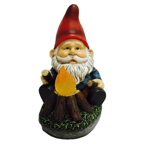 Hi-Line Gnome Sitting by Glowing Campfire Solar LED by Hi-Line Gift Ltd.