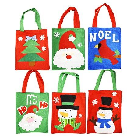 Set of 6 Felt Christmas Gift Bags! 6 Assorted Designs! 10