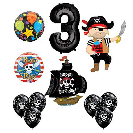 Mayflower Products Pirate 3rd Birthday Party Supplies Balloon Bouquet Decorations - Pirate Balloons
