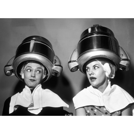 1950s Two Women Sitting Together Gossiping Under Hairdresser Hair Dryer Rolled Canvas Art - Vintage Images (1950's Hair)