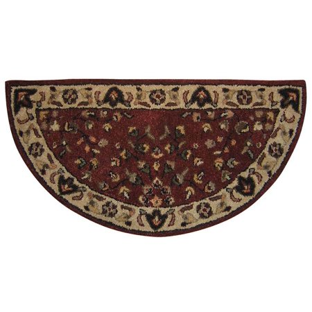 Hand Tufted Hearth (Red & Beige Wool Hearth Rug w Hand Tufted Detail )