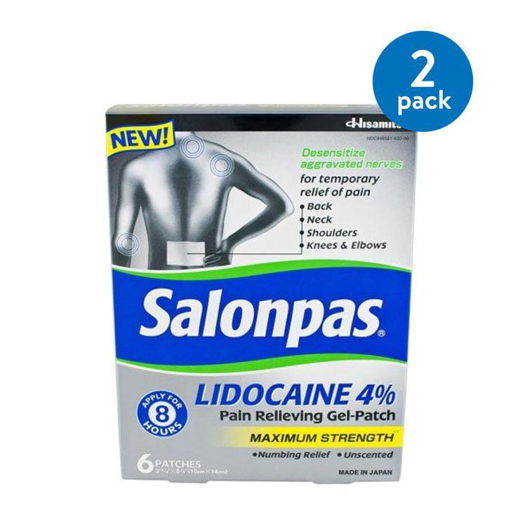 Salonpas Maximum Strength Lidocaine 4% Pain Relieving Gel-Patch, 6 ct