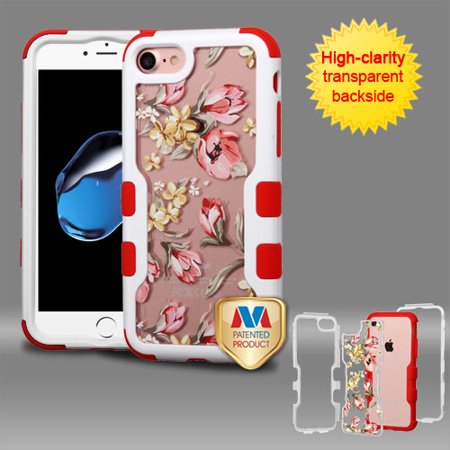 MYBAT Natural Ivory White Frame+Transparent Painted Flowers PC Back/Red TUFF Vivid Hybrid Case for iPhone 8/7 - image 1 of 1