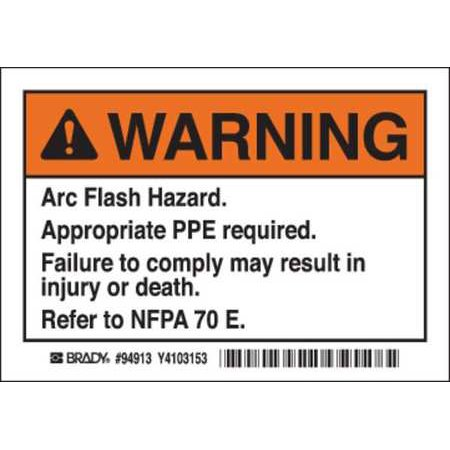 Brady EL-1 3-1/2 In. H Arc Flash Warning Label - Pack of 5