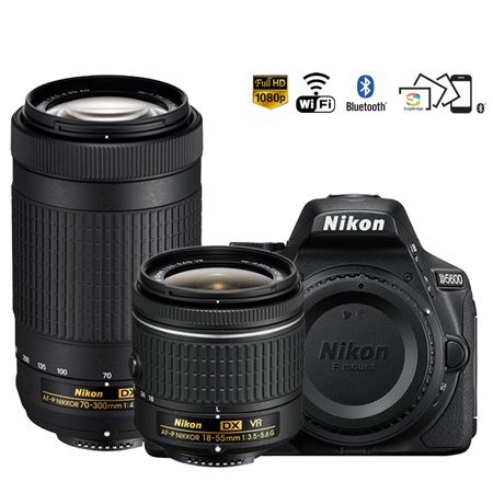 Nikon D5600 24.2MP DSLR Camera 18-55mm VR & 70-300mm ED Lens (1580B) - (Certified