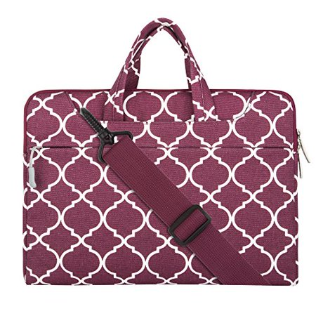 Laptop Shoulder Briefcase Bag, Quatrefoil Style Canvas Fabric Sleeve Carry Case for 11 - 11.6 Inch Laptops / MacBook Air / Acer Chromebook 11 / HP Stream 11 / Samsung Chromebook 2, Wine
