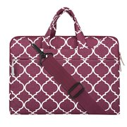 Laptop Shoulder Briefcase Bag, Quatrefoil Style Canvas Fabric Sleeve Carry Case for 11 - 11.6 Inch Laptops / MacBook Air / Acer Chromebook 11 / HP Stream 11 / Samsung Chromebook 2, Wine Red