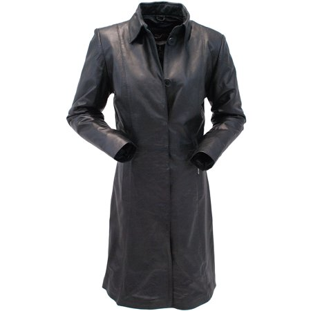 Extra Long Button Down Lambskin Leather Coat for Women
