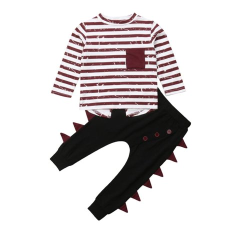 Little Boys Long Sleeve Striped T-shirt Top and Dinosaur Pants Outfit Set 3-4T - Childrens Dinosaur Outfit