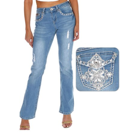 SEXY COUTURE Women's Rhinestone Mid Rise Boot Cut Light Wash Denim Jeans