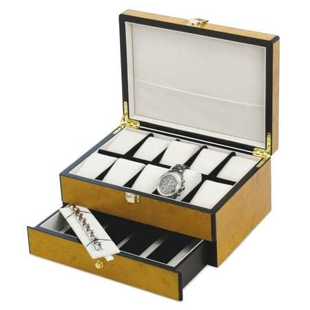 Blonde Wood Box (Blonde Burl Wood Finish 10 Watch Case Box Tool For Women Gift)