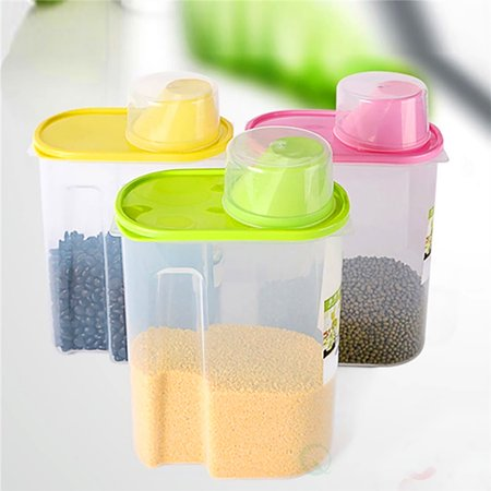 u0022Large BPA-Free Plastic Food Saver, Kitchen Food Cereal Storage Containers with Graduated Cap, Set of 3u0022