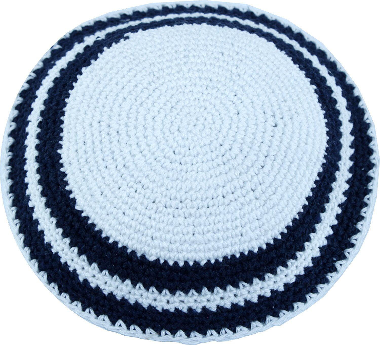 White / Dark Blue, 17cm DMC 100% Knitted Cotton Kippah Torah Chabad Yarmulke