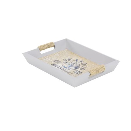 Decmode Coastal 13 And 15 Inch Wooden Trays With Rope Handles Beach Decor, White - Set of 2