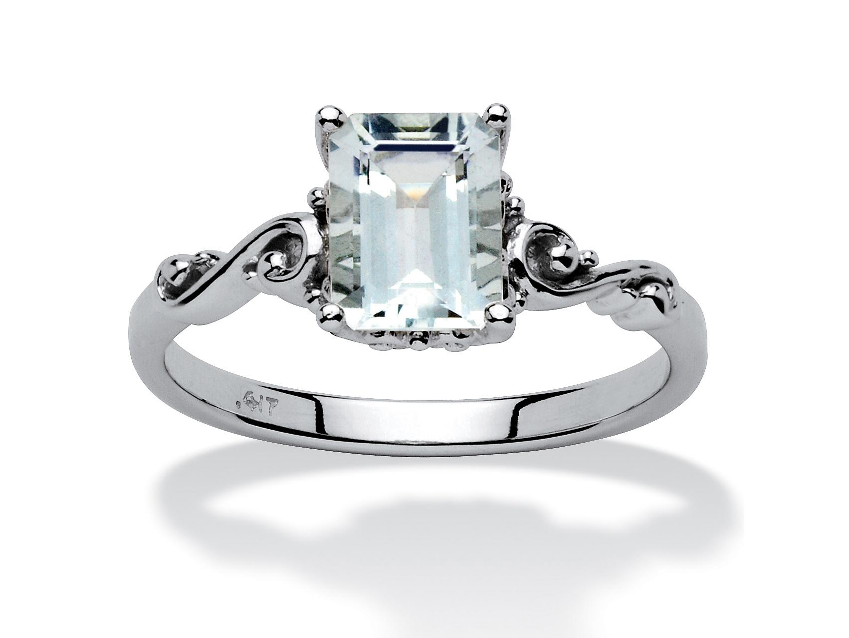 1.40 TCW Emerald-Cut Aquamarine Ring in 10k White Gold by PalmBeach Jewelry