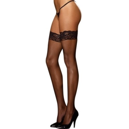 Black Fishnet Lace Top Thigh High 1 Black One Size Fits All, One Size Fits All - Black Thigh Highs