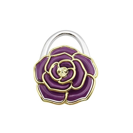 Fashion Creative Rose Flower Shape Folding Handbag Purse Bag Hanger Durable Table Hook Hang Holder purple (Handbag Table Hook)