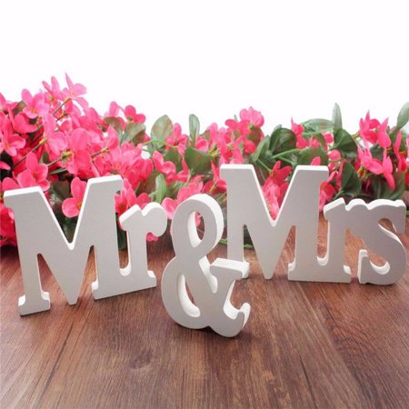 Wooden White Mr and Mrs Letters Table Sign Standing Wedding Party Decor