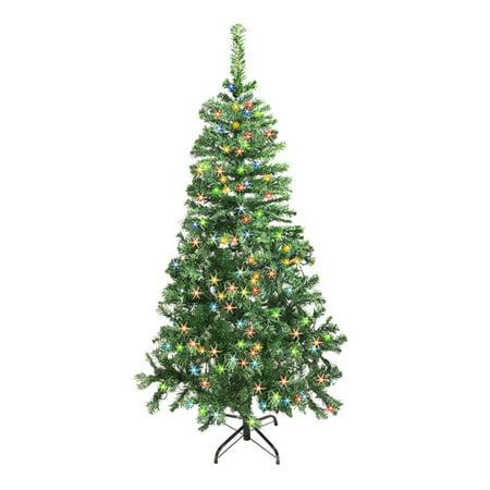 ALEKO CTDG84H250MC Pre-Lit Artificial Pine Christmas Tree, 7.5', Dark Green Tree with Multi-Color Lights ()