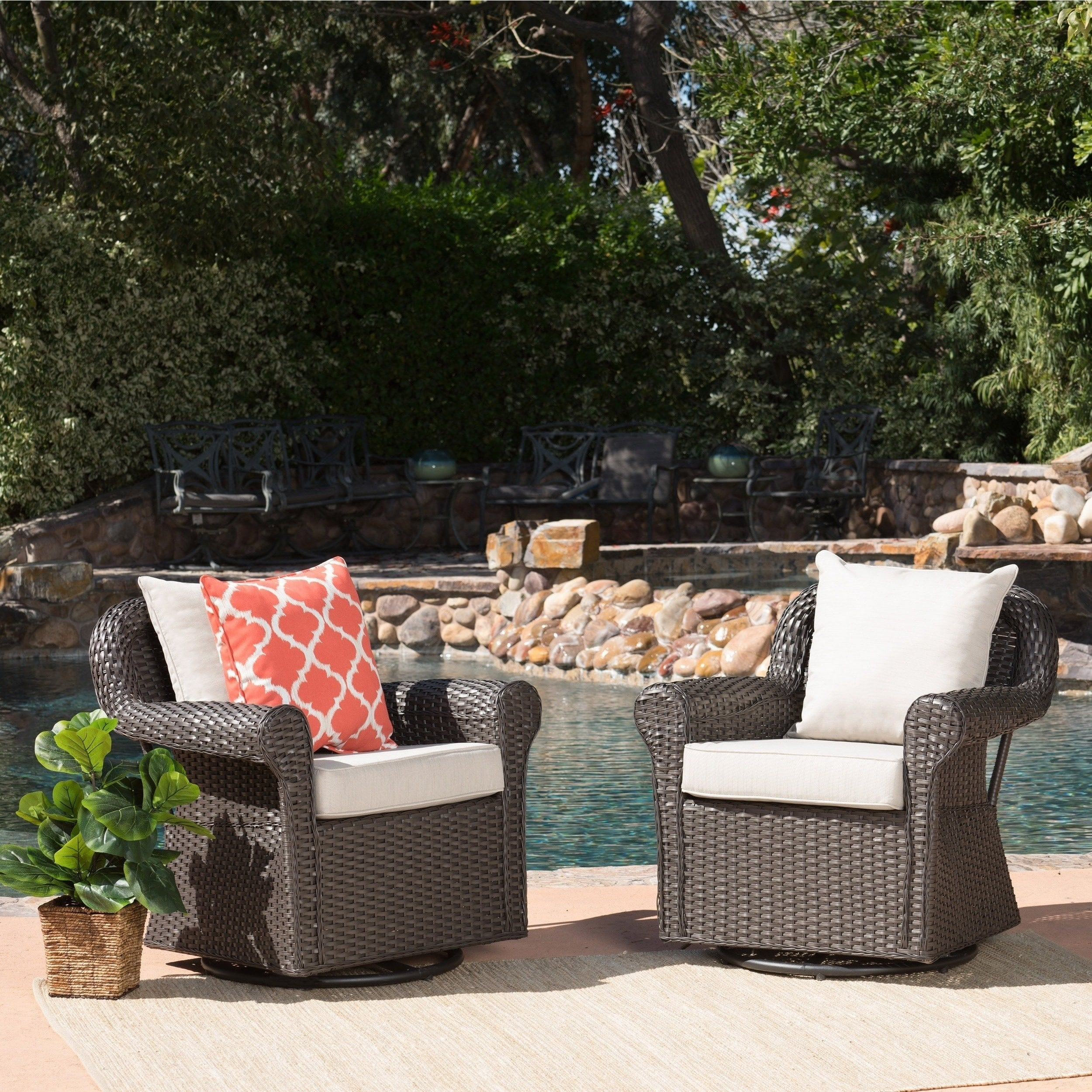 Christopher Knight Home Amaya Outdoor Wicker Swivel Rocking Chair with Cushion (Set of 2) by