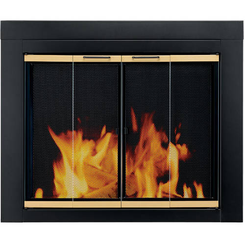 Pleasant Hearth Austin Bi-Fold Style Fireplace Glass Door, Black/Gold, AU-1020