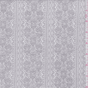 Sterling Grey Floral Stripe Crochet Lace, Fabric By the Yard