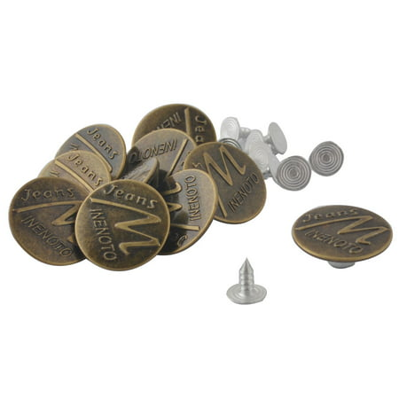 Unique Bargains 10 Pcs 20mm Diameter Coat Jacket Trousers Letter M Pattern Jeans Studs Buttons (Photo Button Pins)