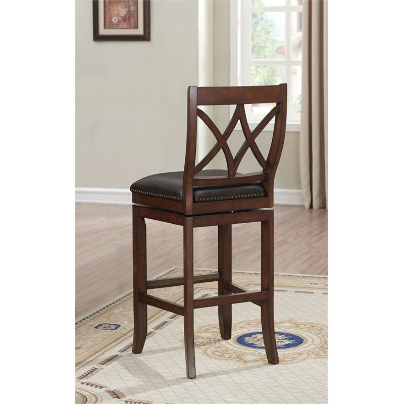 American Heritage Hadley 30 Quot Leather Swivel Bar Stool In Sable