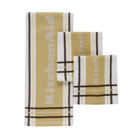 3 Dish Towels - Discontinued - Last Chance Clearance! Kitchenaid Stripe Towel and Dish Cloth, Wood, Set of 3