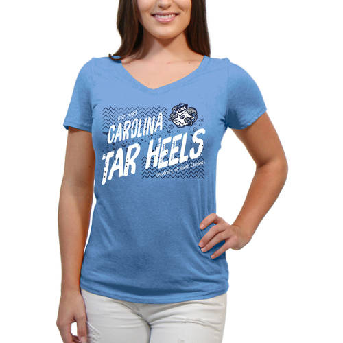North Carolina Tar Heels Scatter Doodle Women'S/Juniors Team Short Sleeve V Neck Tee Shirt