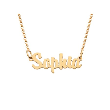 Personalized Gold over Sterling Silver Girls' Mini Name - Personalized Girls Necklace