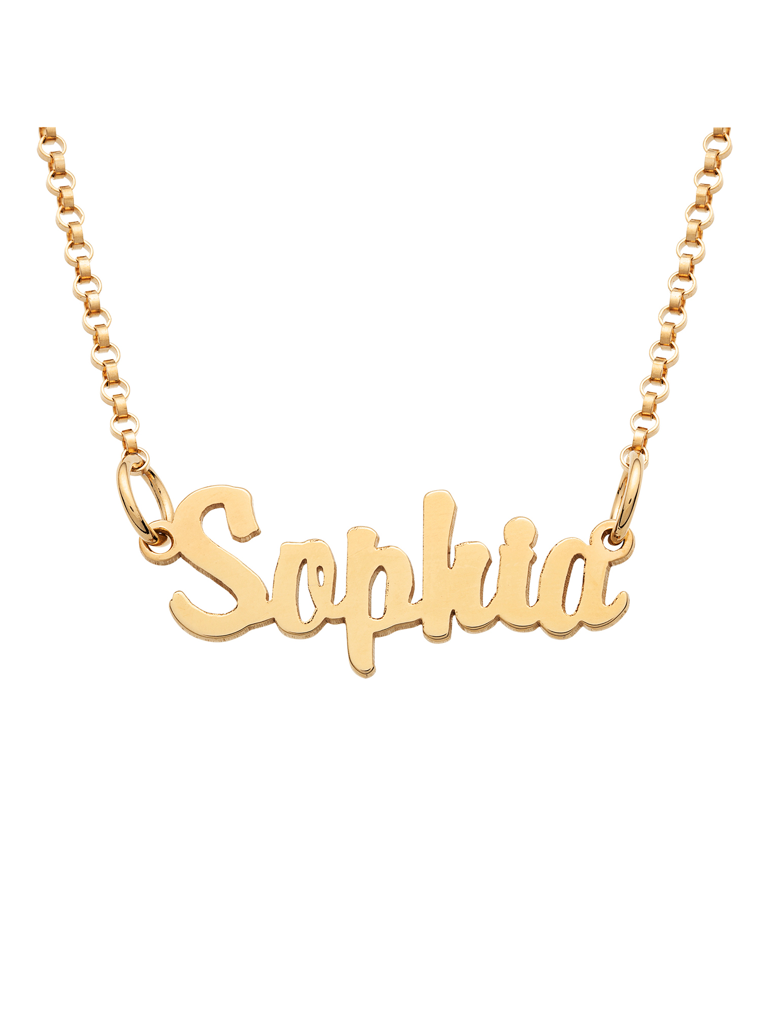 Personalized Gold over Sterling Silver Girls' Mini Name Necklace