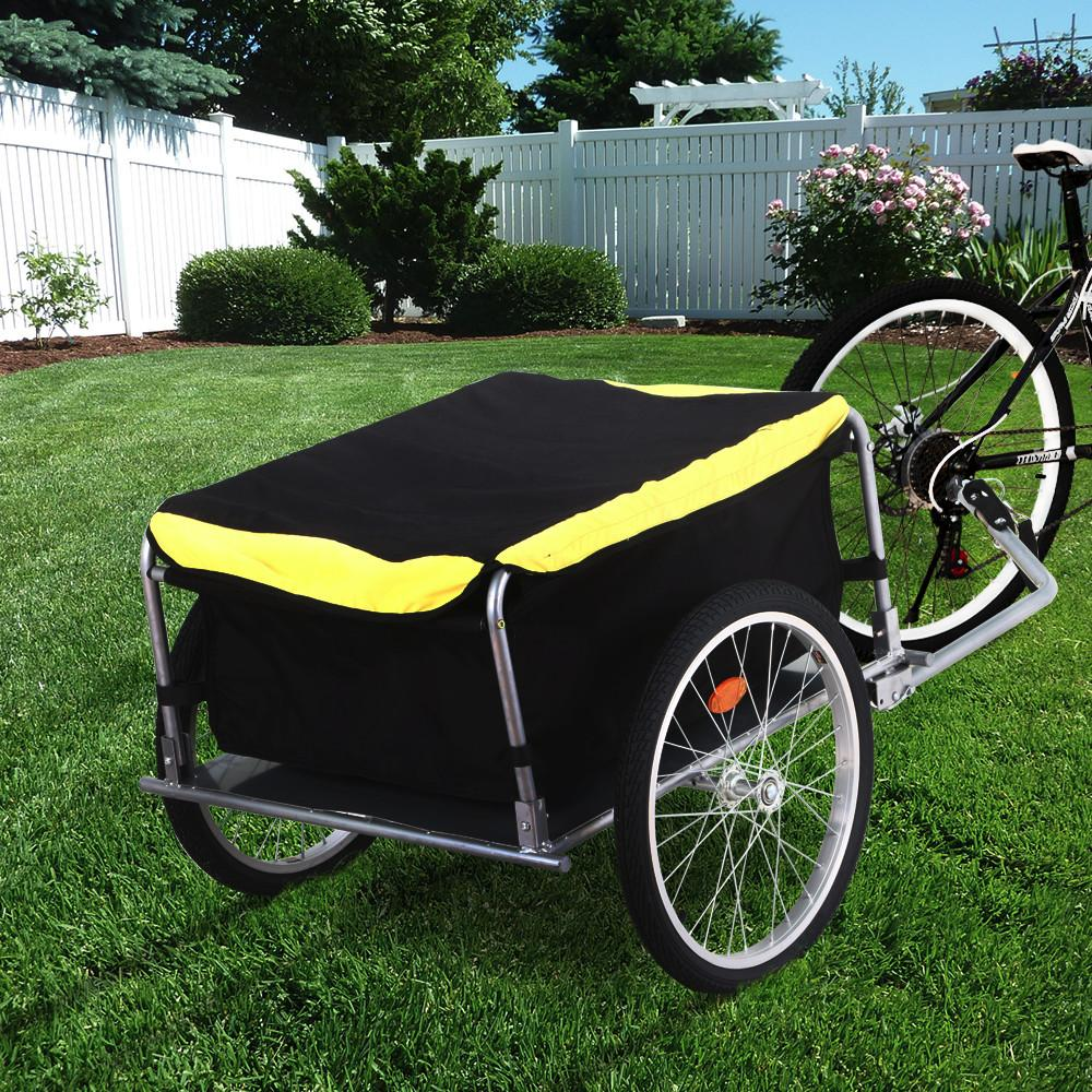 Topeakmart Steel Frame Bicycle Bike Cargo Trailer Luggage Cart Carrier For Shopping Garden