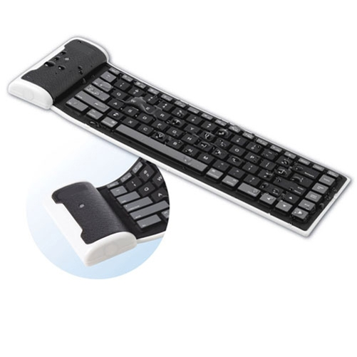 Slim Mini Flexible Folding Roll-Up Wireless Keyboard Compatible With Amazon Kindle Fire HDX 8.9 7 HD 8.9 7 6, DX - ASUS Google Nexus 7 2 7 - Barnes & Noble NOOK HD+ HD Color - BLU Vivo 5 A2R