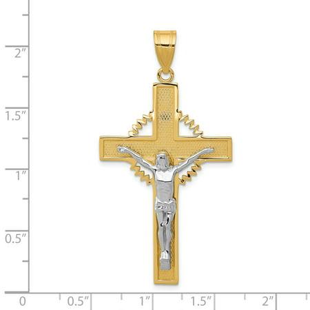 14k Yellow and White Gold Two-tone Diamond Cut Crucifix Pendant Length 55mm - image 1 of 2