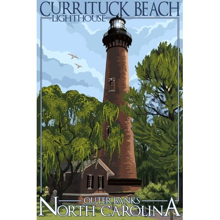 Beach Scene Lighthouse (Currituck Beach Lighthouse Day Scene - Outer Banks, North Carolina Print Wall Art By Lantern Press )