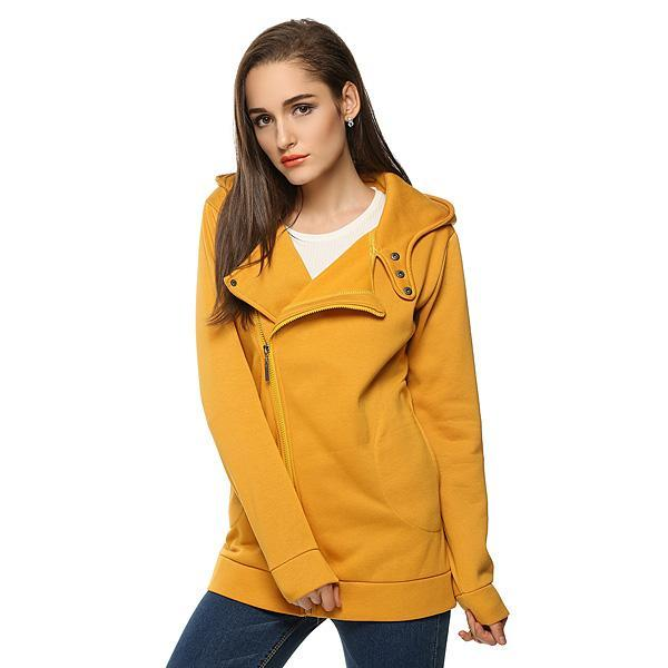 Lowest Price ever ! Dailydeal New Women Casual Slim Fit Zip-up Oblique Zipper Cotton Hoodie Jacket