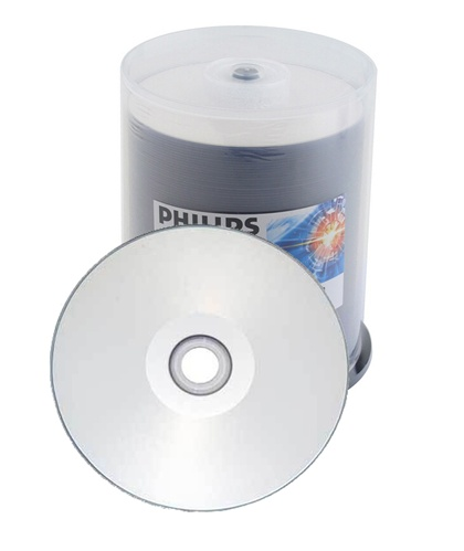 600 Philips 16X DVD-R 4.7GB Silver Inkjet Hub Printable