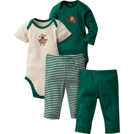 Gerber Newborn Baby Boy Mix N' Match Onesies Bodysuits & Pants, 4pc Set for $<!---->
