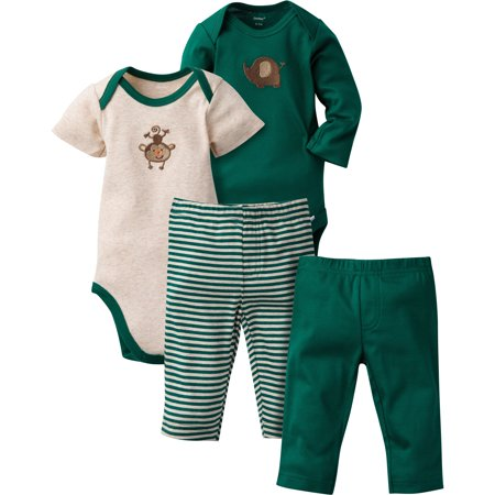 Gerber Newborn Baby Boy Mix N' Match Onesies Bodysuits & Pants, 4pc Set