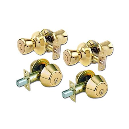 Lion Locks LICO0705 Tulip Style Keyed Alike Door Knob and Deadbolt Set, Polished Brass, 2-Pack