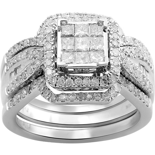 1 Carat T.W. Baguette, Princess and Round Diamond 10kt White Gold Bridal Set