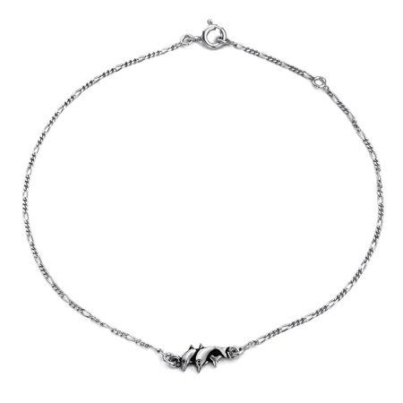 Nautical Dolphin Charm Anklet Figaro Chain Ankle Bracelet For Women Oxidized 925 Sterling Silver Adjustable 9-10 In Dolphin Ankle Bracelet