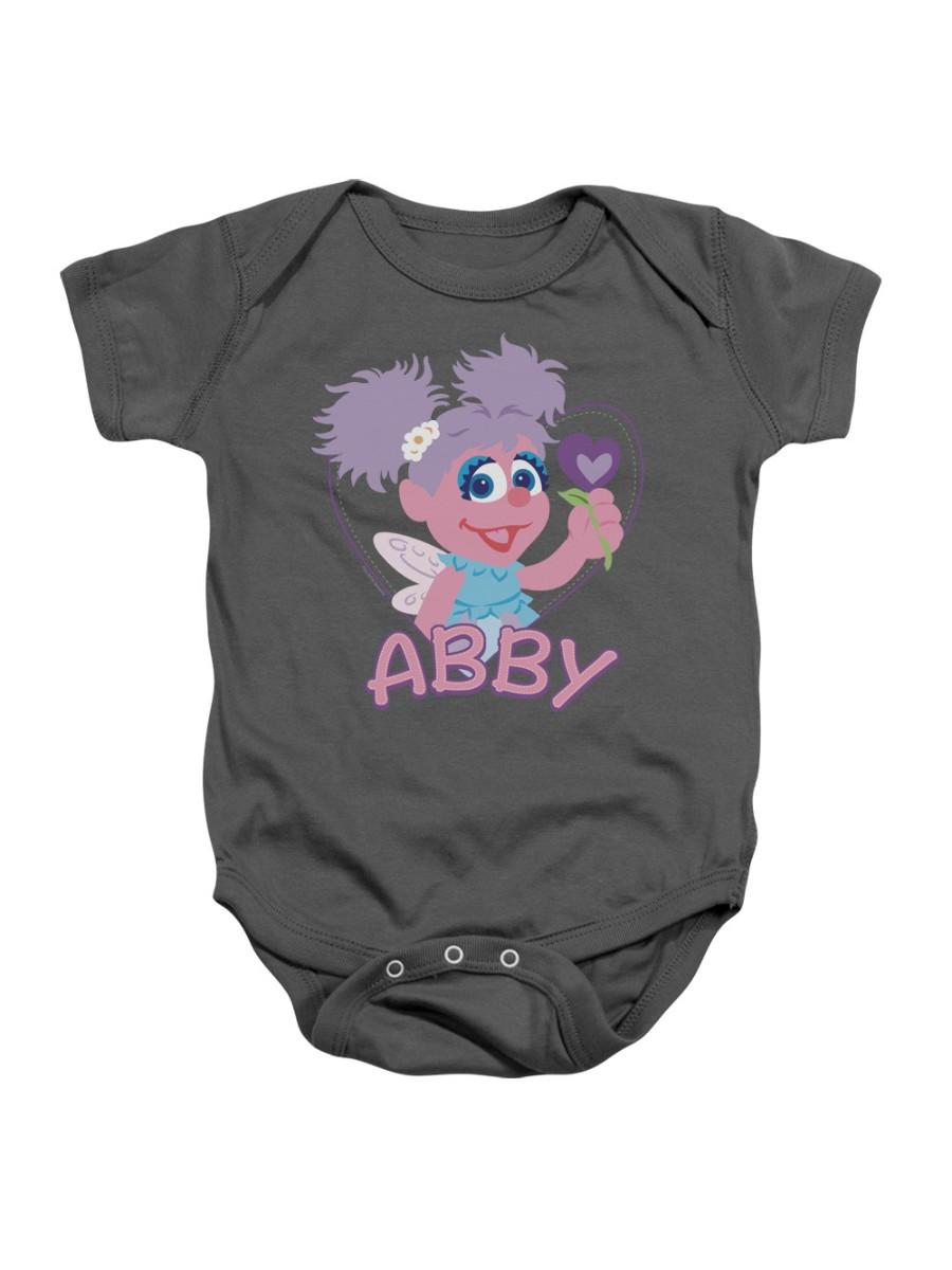 Sesame Street Classic TV Show Abby & Heart Flower Infant Romper Snapsuit