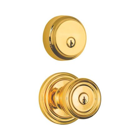 Brinks Home Security 5006264 Barrett Polished Brass Knob & Deadbolt Set, ANSI Grade 2 - image 1 of 1