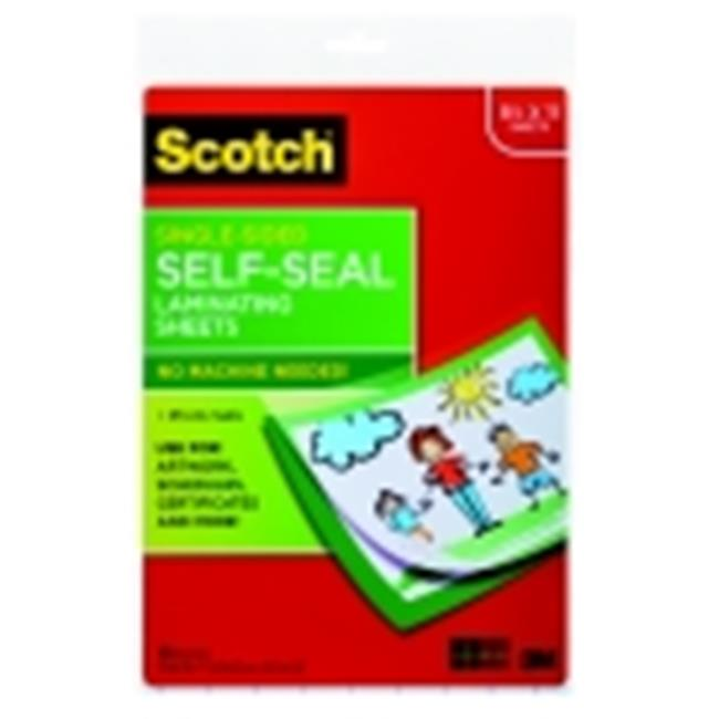 Scotch Self-Seal Single-Sided Laminating Sheet - Letter Size, Pack 10